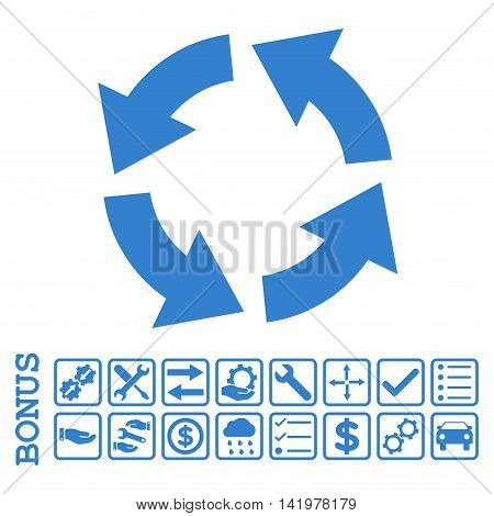 Circulation icon with bonus pictograms. Vector style is flat iconic symbol, cobalt color, white background. Bonus style is square rounded frames with symbols inside.