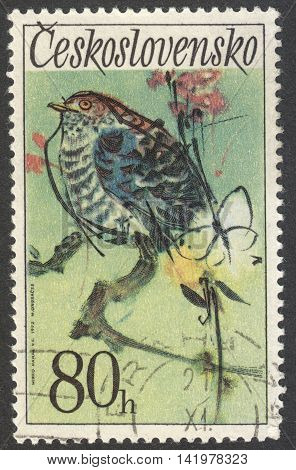 MOSCOW RUSSIA - CIRCA MAY 2016: a post stamp printed in CZECHOSLOVAKIA shows a Cuckoo bird the series
