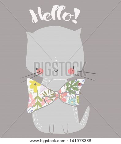cute hand drawn kitten with floral bow