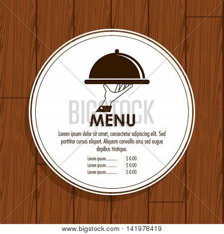 plate hand waiter menu restaurant kitchen icon. Colorfull illustration Wood background. Vector graphic