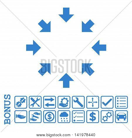 Compact Arrows icon with bonus pictograms. Vector style is flat iconic symbol, cobalt color, white background. Bonus style is square rounded frames with symbols inside.
