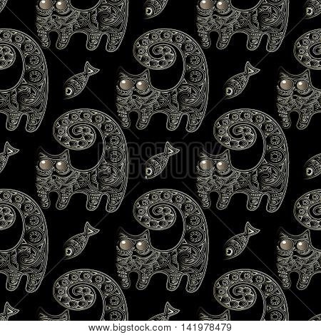 Dark black modern seamless pattern background with decorative ornamental cat and fish.  Decorative ornamental cat with big round shiny eyes and big curly spiral  tail. Funny vector illustration.