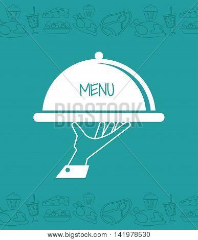 plate hand waiter menu restaurant kitchen icon. Colorfull illustration. Vector graphic