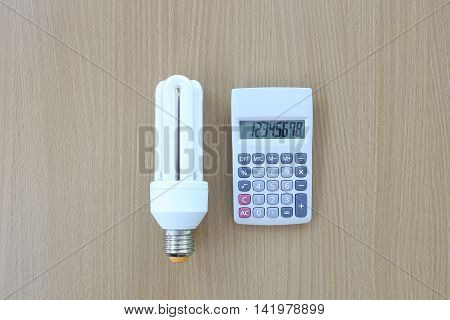 Fluorescent Lamps placed near calculator on wooden background.