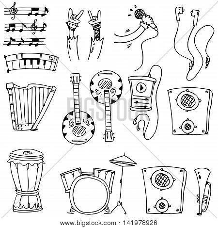 Hand draw doodle of music set stock collection