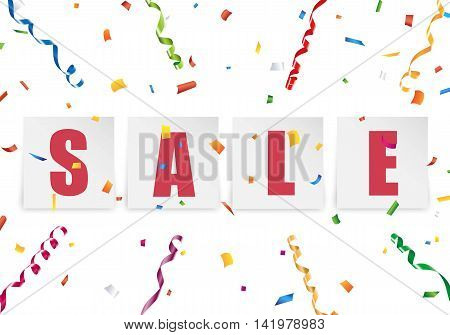 Sale paper sticker with colorful confetti and streamer background