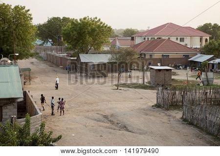 JUBA, SOUTH SUDAN-DECEMBER 1, 2010: Undidentified people go about their business in Juba, capital city of South Sudan