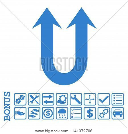 Double Forward Arrow icon with bonus pictograms. Vector style is flat iconic symbol, cobalt color, white background. Bonus style is square rounded frames with symbols inside.