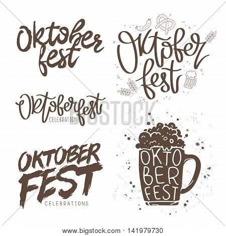 Set quotes for Oktoberfest. The trend calligraphy. Vector illustration on white background. Elements for design.