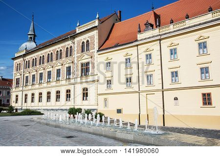 Old historical building of Vajda Janos Gymnasium Keszthely Hungary. Architectural theme. Travel destination. School-house scene.