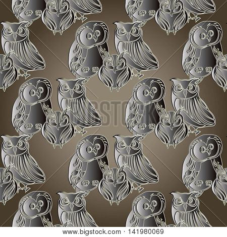 Modern seamless pattern background with decorative volumetric grey owls. Luxury ornate 3d i decor elements with shadow and highlights