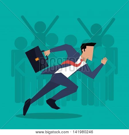 Businessman man male suitcase suit necktie business icon. Colorfull and flat illustration. Vector graphic
