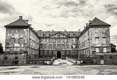 Old castle in Holic Slovak republic. Cultural heritage. Architectural theme. Black and white photo. Historical object.