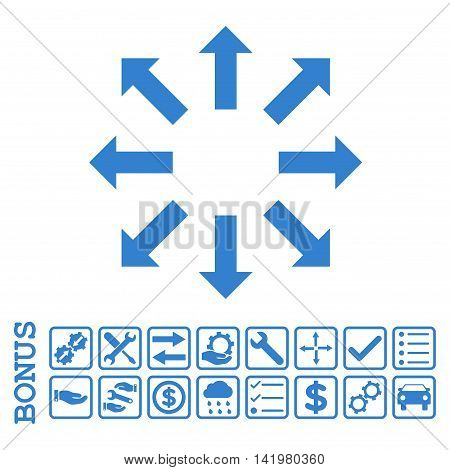 Explode Arrows icon with bonus pictograms. Vector style is flat iconic symbol, cobalt color, white background. Bonus style is square rounded frames with symbols inside.