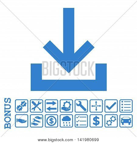Inbox icon with bonus pictograms. Vector style is flat iconic symbol, cobalt color, white background. Bonus style is square rounded frames with symbols inside.