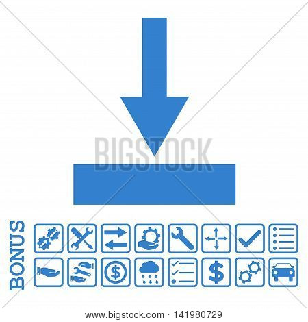 Move Bottom icon with bonus pictograms. Vector style is flat iconic symbol, cobalt color, white background. Bonus style is square rounded frames with symbols inside.