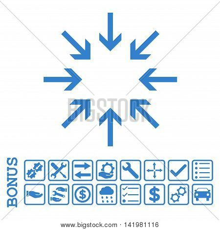Pressure Arrows icon with bonus pictograms. Vector style is flat iconic symbol, cobalt color, white background. Bonus style is square rounded frames with symbols inside.