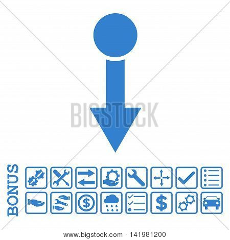 Pull Down icon with bonus pictograms. Vector style is flat iconic symbol, cobalt color, white background. Bonus style is square rounded frames with symbols inside.