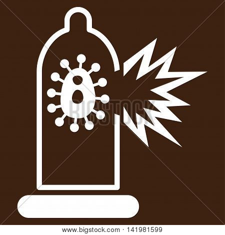 Damaged Condom With Virus vector icon. Style is flat symbol, white color, rounded angles, brown background.
