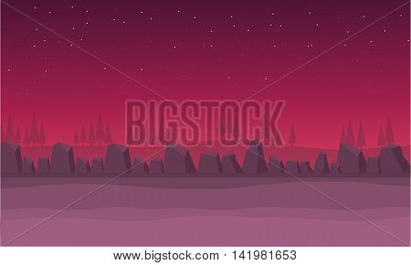 Scenery rock and hill vector illustration backgrounds game