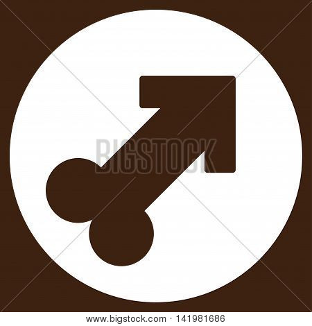 Erection vector icon. Style is flat symbol, white color, rounded angles, brown background.