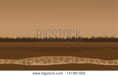 Fields scenery brown bakcgrounds game vector illustration