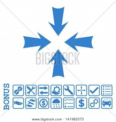 Reduce Arrows icon with bonus pictograms. Vector style is flat iconic symbol, cobalt color, white background. Bonus style is square rounded frames with symbols inside.