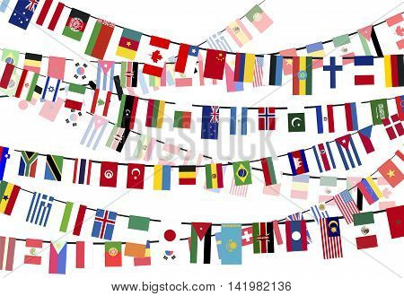 Different countries flags hangs on the ropes on white background