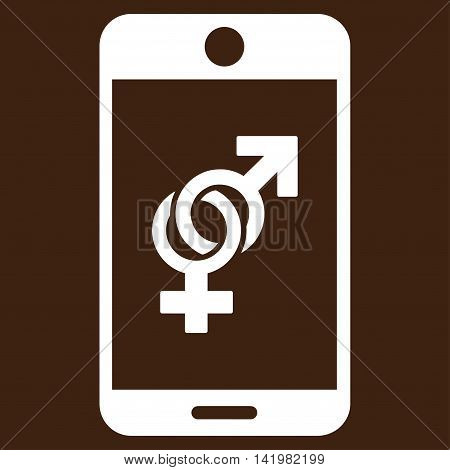 Mobile Dating vector icon. Style is flat symbol, white color, rounded angles, brown background.