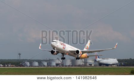 The Moscow region - 31 July 2016: A passenger plane Boeing 767-3Q8ER (W) Anex-tour takes off at Domodedovo airport July 31 2016 Moscow Region Russia