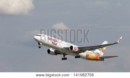 The Moscow region - 31 July 2016: Beautiful passenger plane Boeing 767-3Q8ER (W) Anex-tour takes off at Domodedovo airport July 31 2016 Moscow Region Russia