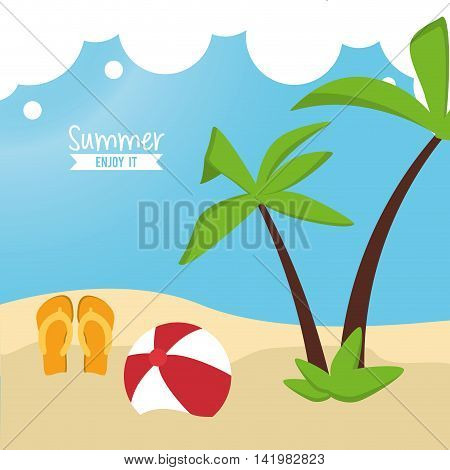 sandals ball palm tree beach summer holiday vacation icon. Colorfull and flat illustration. Vector graphic