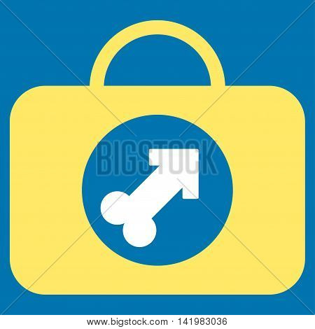 Male Erection Case vector icon. Style is bicolor flat symbol, yellow and white colors, rounded angles, blue background.
