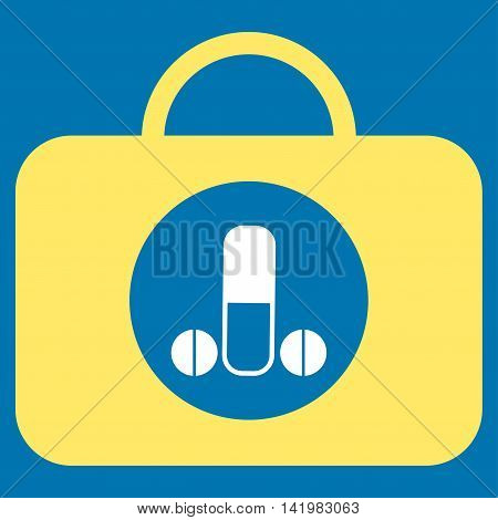 Male Sexual Toolbox vector icon. Style is bicolor flat symbol, yellow and white colors, rounded angles, blue background.