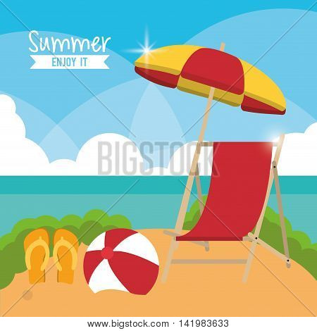 chair umbrella sandals ball summer holiday vacation icon. Colorfull and flat illustration. Vector graphic