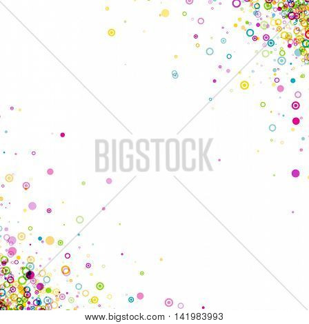 White background with colour circles pattern. Vector paper illustration.