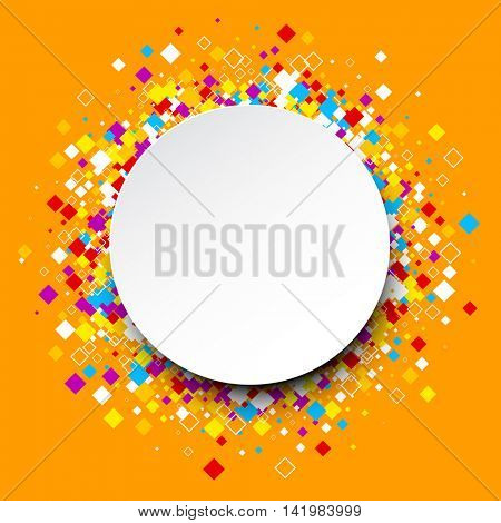 Orange round background with color rhombs. Vector paper illustration.