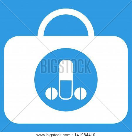 Male Sexual Toolbox vector icon. Style is flat symbol, white color, rounded angles, blue background.