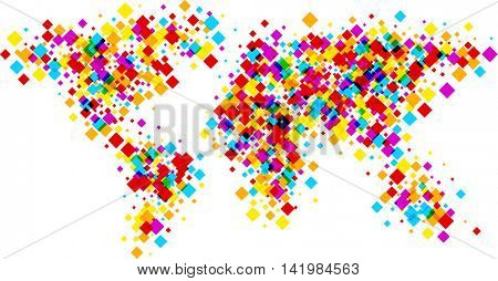 Color world silhouette abstract map of rhombs. Vector paper illustration.