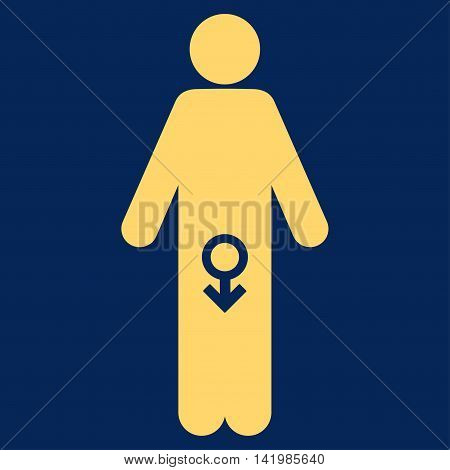Male Impotence vector icon. Style is flat symbol, yellow color, rounded angles, blue background.