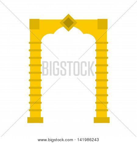 Yellow arch icon in flat style on a white background