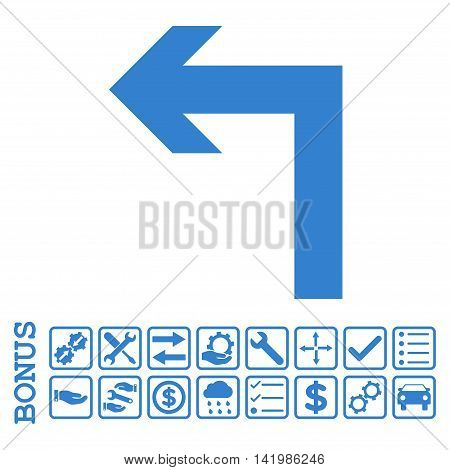 Turn Left icon with bonus pictograms. Vector style is flat iconic symbol, cobalt color, white background. Bonus style is square rounded frames with symbols inside.