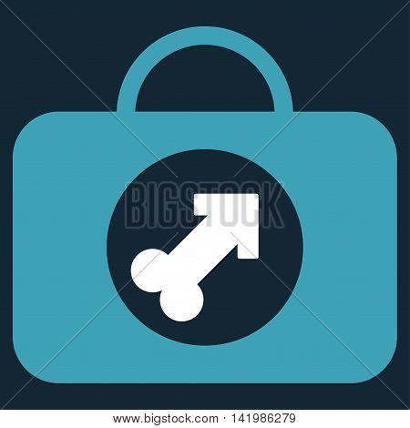 Male Erection Case vector icon. Style is bicolor flat symbol, blue and white colors, rounded angles, dark blue background.