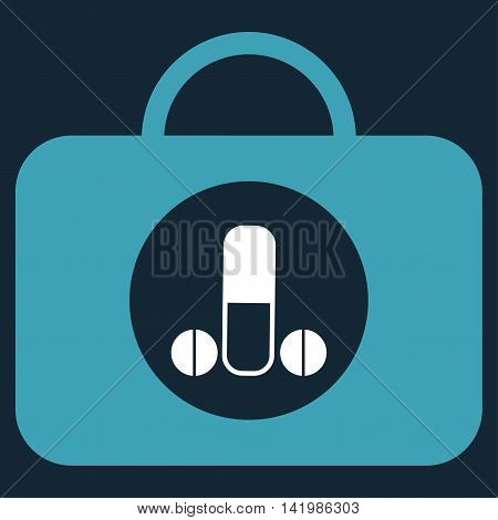 Male Sexual Toolbox vector icon. Style is bicolor flat symbol, blue and white colors, rounded angles, dark blue background.