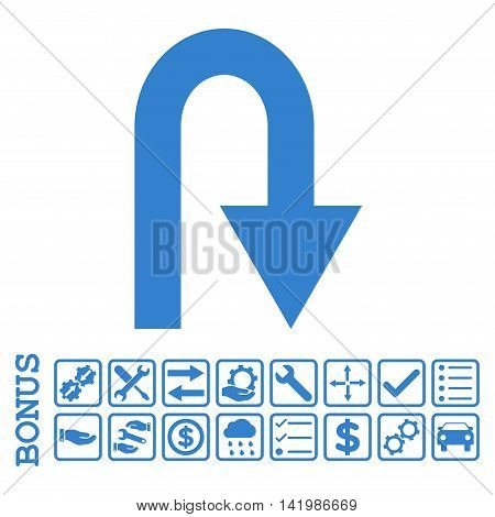 U Turn icon with bonus pictograms. Vector style is flat iconic symbol, cobalt color, white background. Bonus style is square rounded frames with symbols inside.