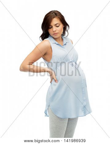 pregnancy, health, people and expectation concept - pregnant woman in bed touching her back and suffering from backache over white background