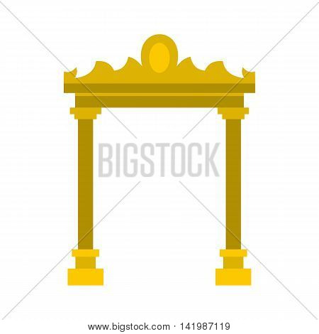 Golden antique arch icon in flat style on a white background