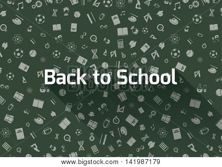 Back to school, green background with education icons