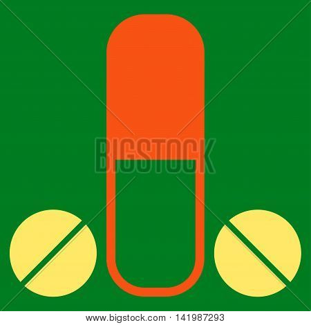 Male Medication vector icon. Style is bicolor flat symbol, orange and yellow colors, rounded angles, green background.