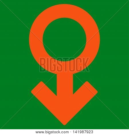 Impotence Symbol vector icon. Style is flat symbol, orange color, rounded angles, green background.